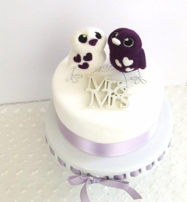 Bird Wedding Cake Topper Purple Passion Royal Purple Opposites Love ...