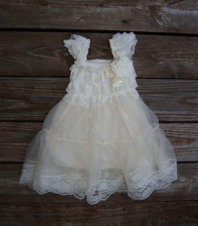 Lace ivory flower girl dress rustic flowergirl dress for Country wedding flower girl dresses