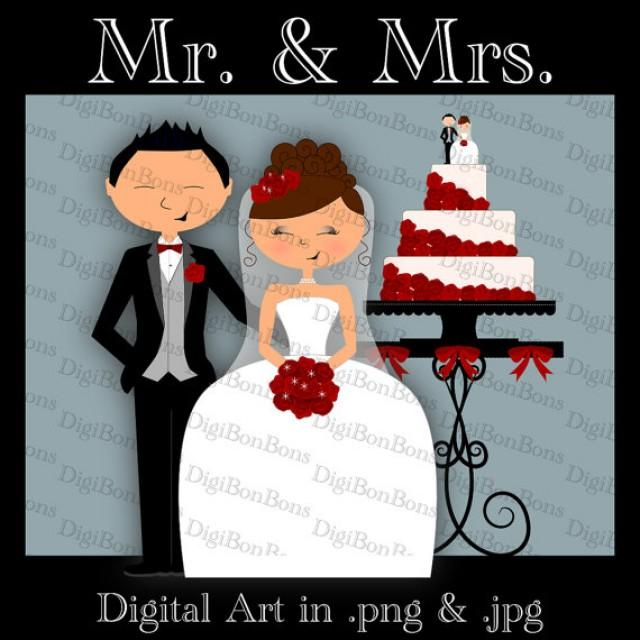 Wedding Digital Clip Art Clipart. Bride, Groom, Cake, Cake ...