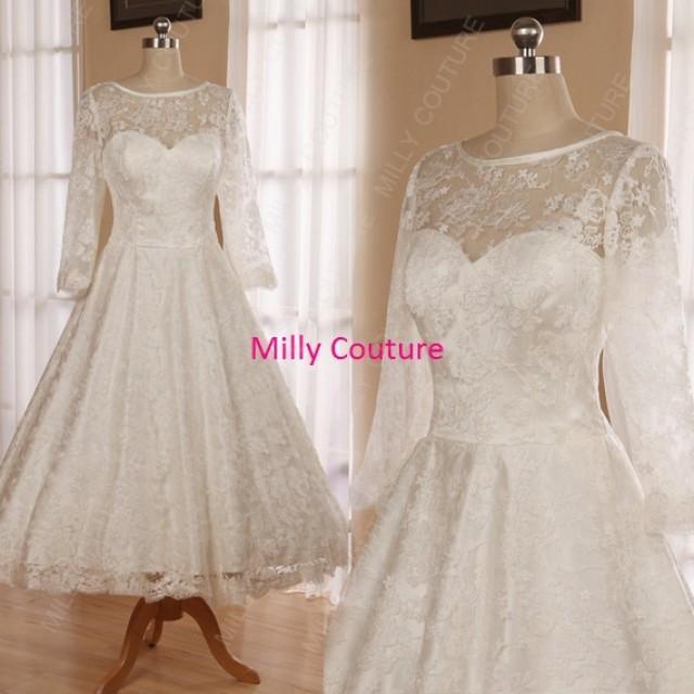High neck 1950s tea length lace wedding dress with sleeves for Ivory lace tea length wedding dress