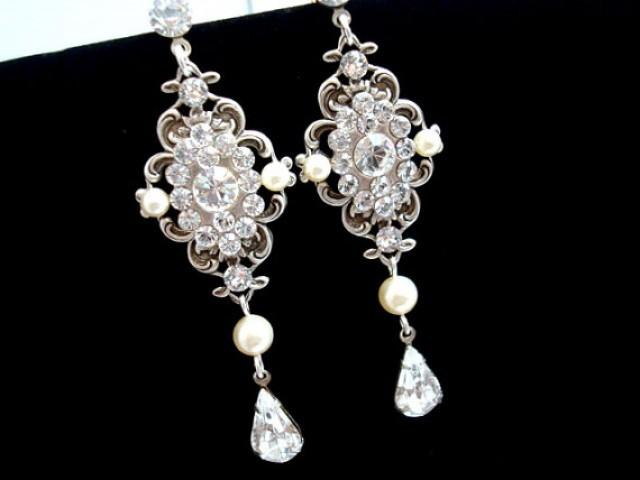 Crystal Bridal Earrings Pearl Wedding Earrings Chandelier Earrings