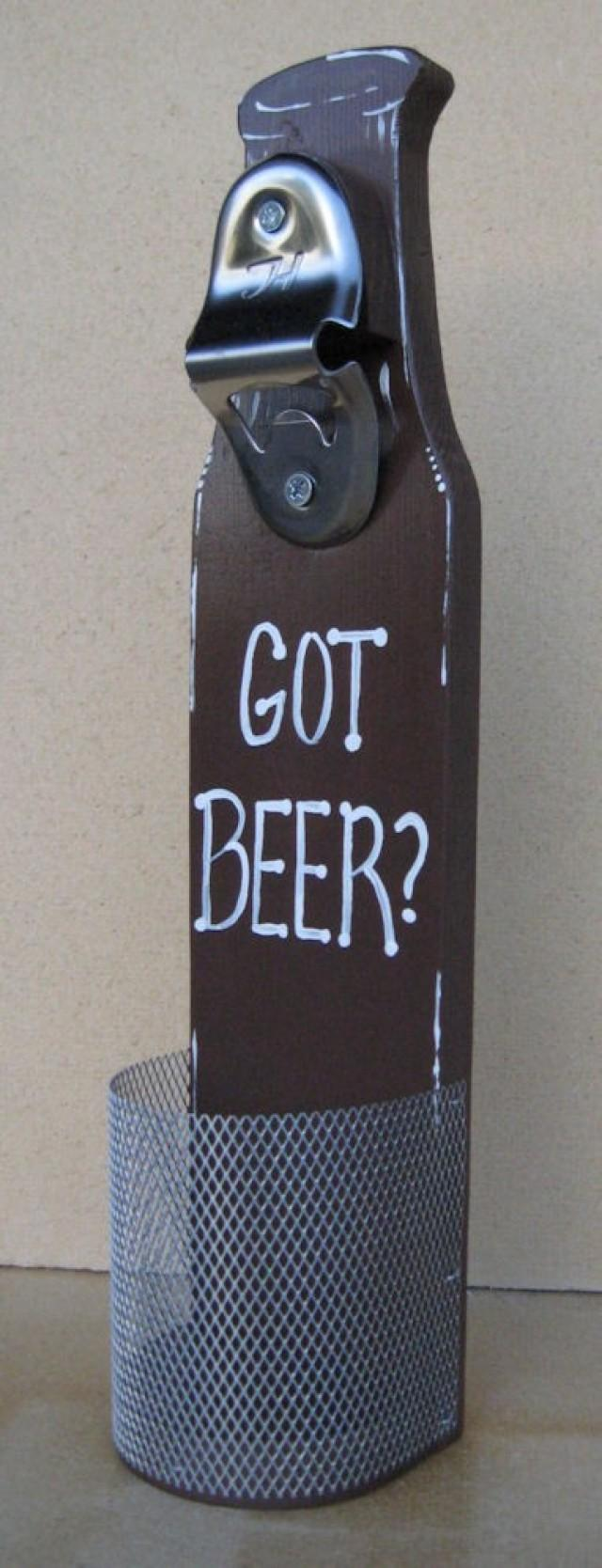 Beer bottle opener with cap catcher wall mounted got beer for my groomsmen 2266608 weddbook - Wall mounted beer bottle opener cap catcher ...
