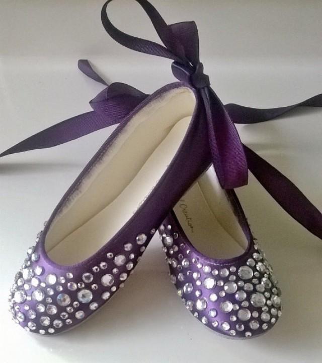 bling wedding shoes rhinestone girl purple shoes eggplant flat. Black Bedroom Furniture Sets. Home Design Ideas