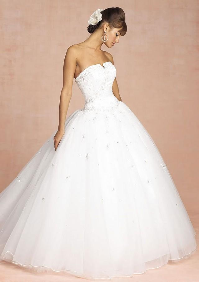 Organza ball gown strapless princess chapel train wedding for Cheap princess wedding dress