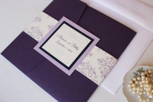 Purple Pocket Fold Wedding Invitations Purple And Lavender Invites Purple Damask Invitations