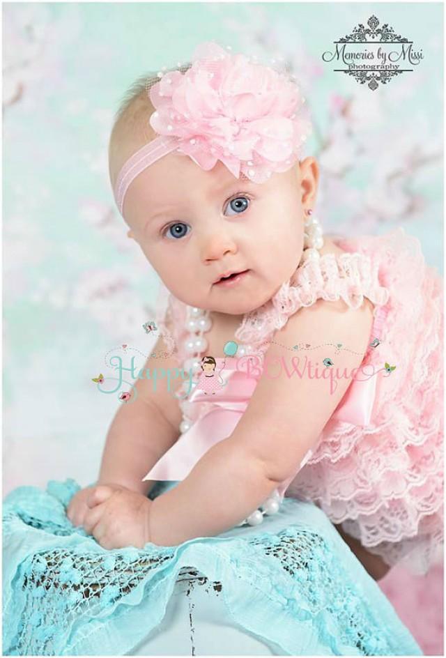 Flower Girl Headband Large Baby Pink Tutu Dots
