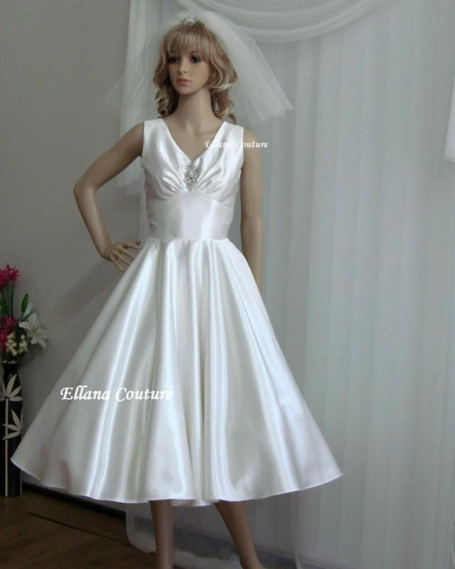 Sample sale clara vintage inspired satin tea length for Vintage t length wedding dresses