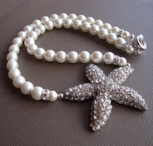bridal starfish necklace with swarovski pearls bridal