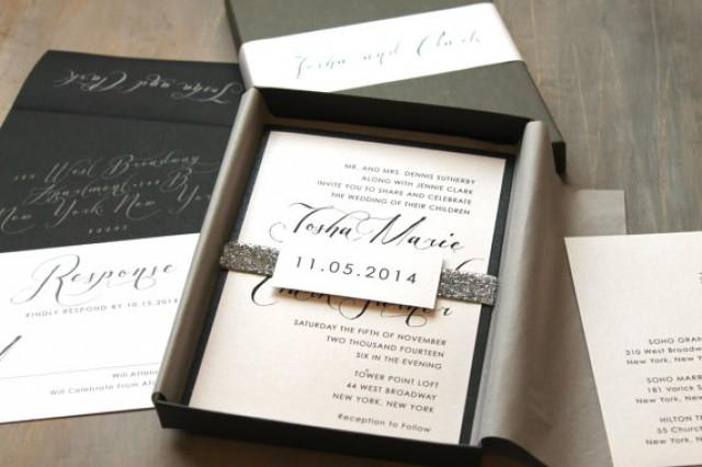 modern script wedding invitations elegant boxed wedding invitation
