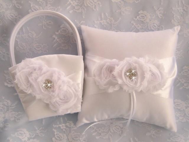 Vintage Flower Girl Basket And Ring Bearer Pillow : White flower girl basket ring bearer pillow champagne