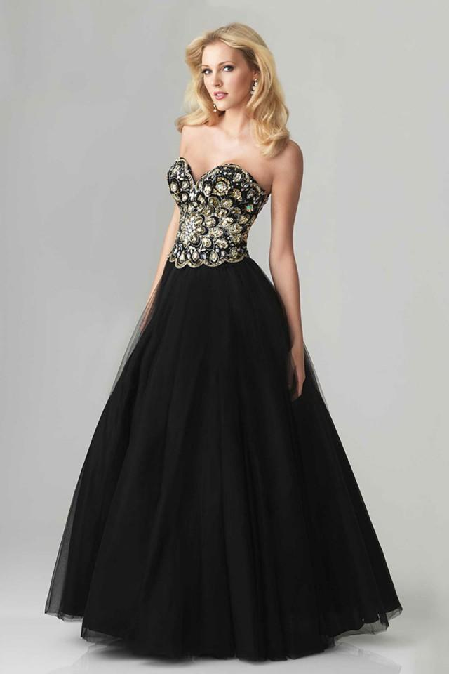 wedding photo - Timeless Bodice Long Patterned Strapless Sexy Prom Dress