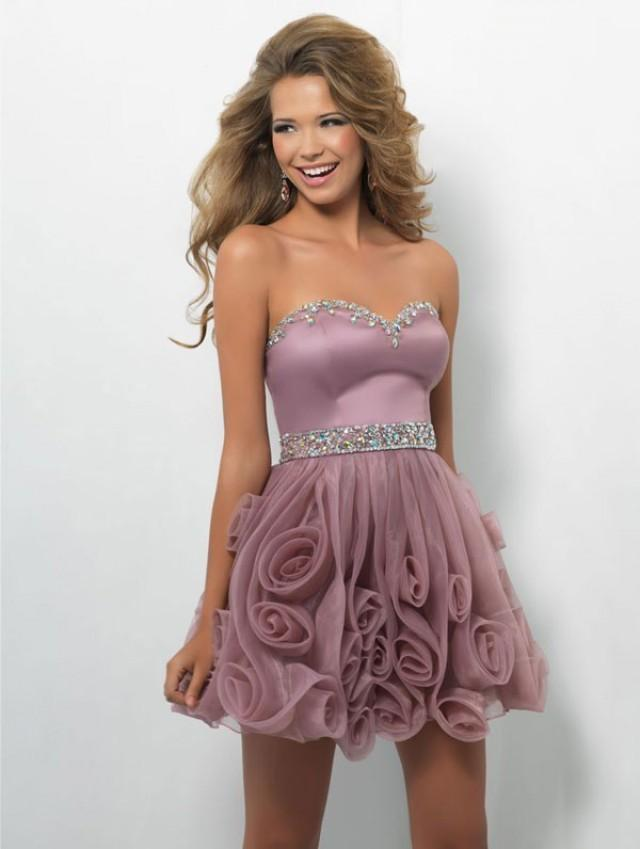 wedding photo - dress strapless floral flared prom dress - Cheap-dressuk.co.uk