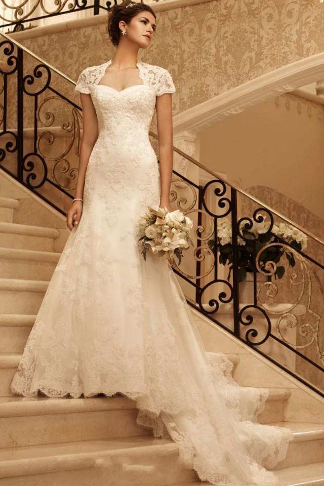 Keyhole sheath chapel train queen anne empire wedding for Empire wedding dresses uk