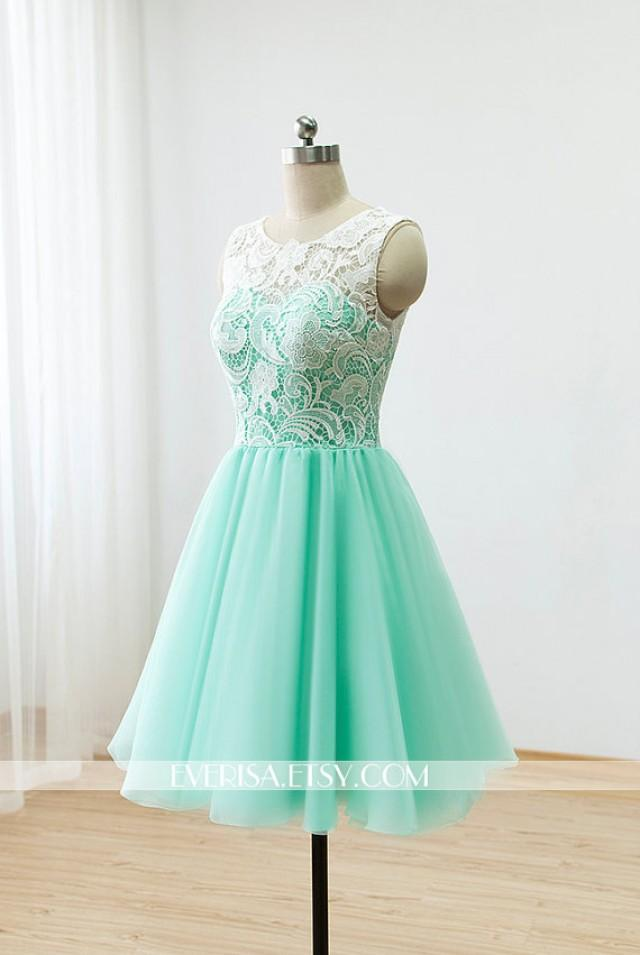 Custom Lace Bridesmaid Dress Prom Dress Mint Green Dress ...