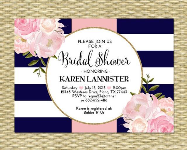 Bridal Shower Invitation Navy Blue Pink Gold Glitter ...