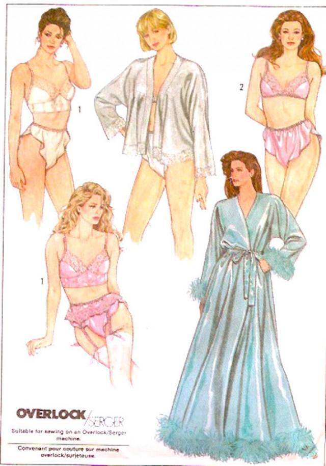 80s Romantic Lingerie Bra Bustier Garter Belt Panties Robe Honeymoon ...
