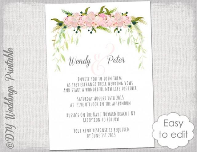 Wedding Invitation Template Printable Wedding Invitations Blush Pink Tutti Watercolor Flower