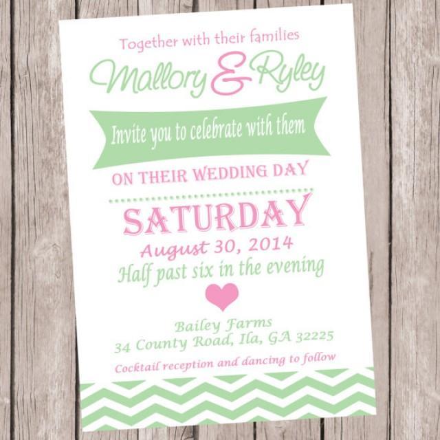 Simple Printable Wedding Invitation Wedding Ceremony Invitation Chevron Wedding Invite