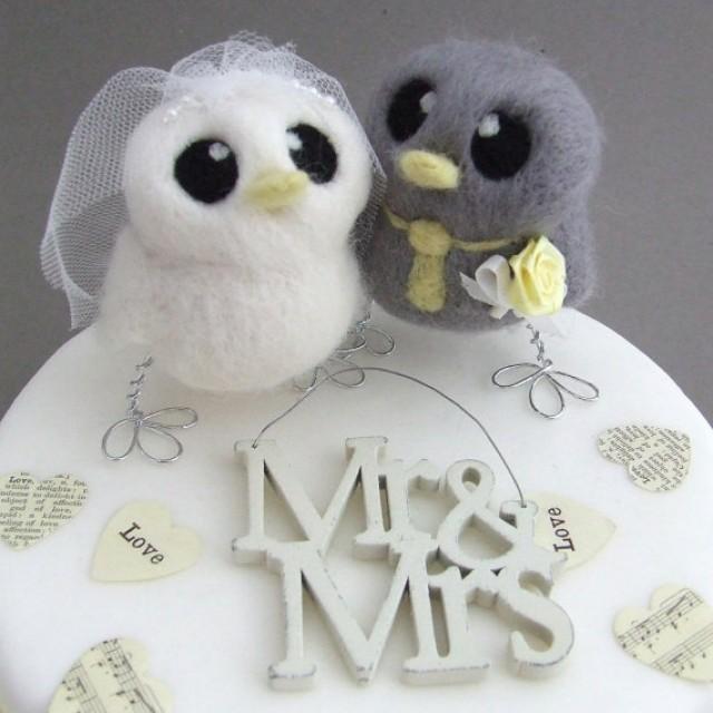 Love Birds Wedding Cake Topper Grey And Yellow Wedding Bride And Groom Needle Felted Birds 2268912 Weddbook