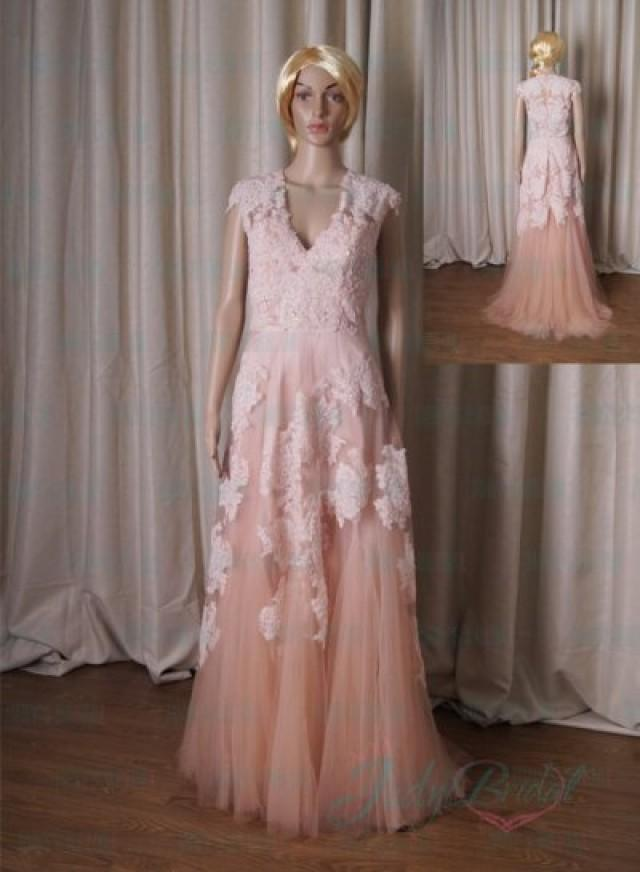 LJ183B Inspired Vintage Blush Colored Cap Sleeved Lace Tulle Prom ...