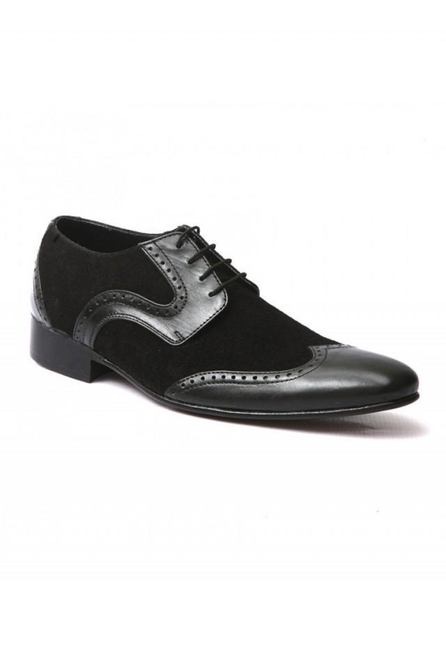 wedding photo - Mens Black Suede Leather Formal Lace up Shoes - Zapprix.com