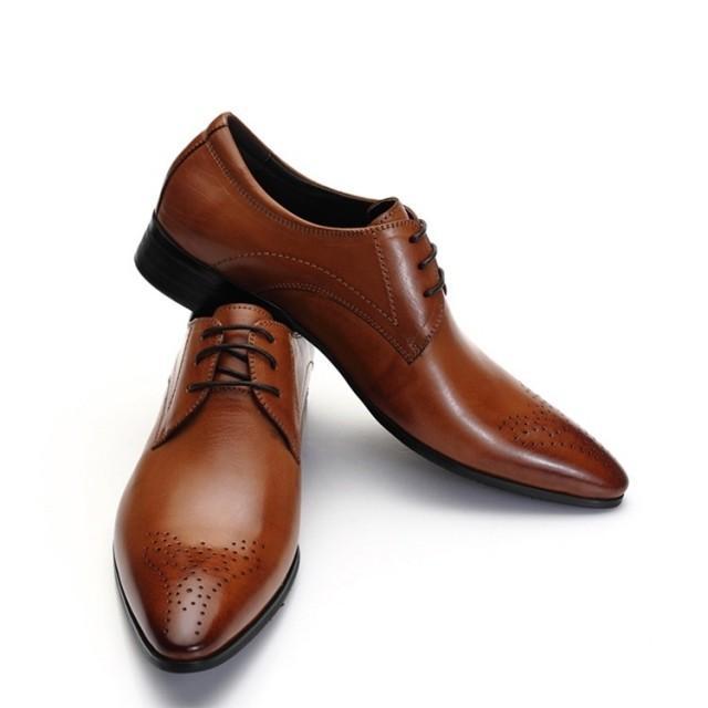wedding photo - Zapprix Mens Oxford Tan Brown Leather Shoes