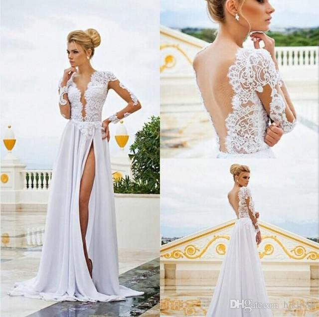 Long sleeves lace 2015 illusion wedding dresses see for Lace v neck backless wedding dress