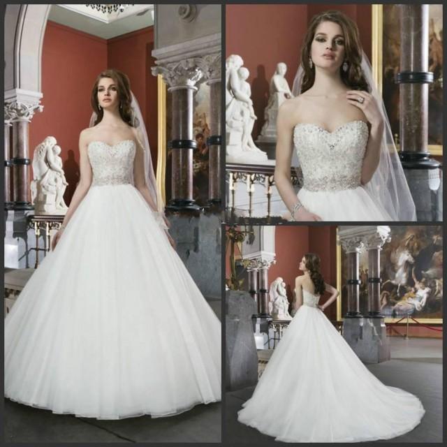 Modest 2014 Elegant White Ivory Beaded Bodice Sweetheart