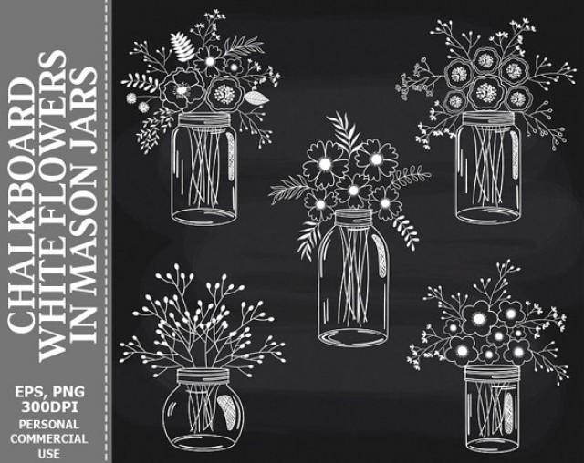 BUY 2 GET 1 FREE! Chalkboard Flowers In Mason Jars Clip ...