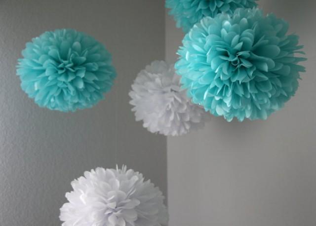 tiffany tissue paper pom poms for bridal showers weddings birthday and party decorations. Black Bedroom Furniture Sets. Home Design Ideas