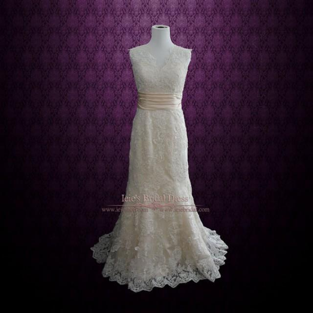 Keyhole Back Lace Wedding Dress With V Neck 2269489 Weddbook