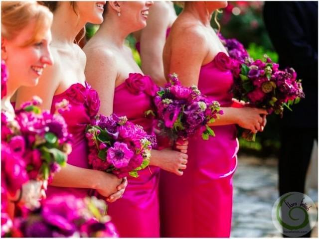 wedding photo - BRIDESMAIDS in Fuchsia