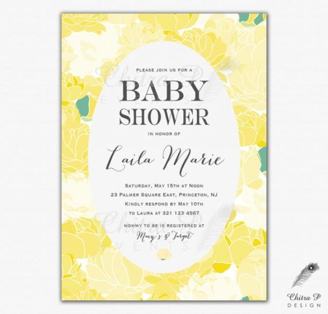 yellow baby shower invitation printed or printable daffodil wedding