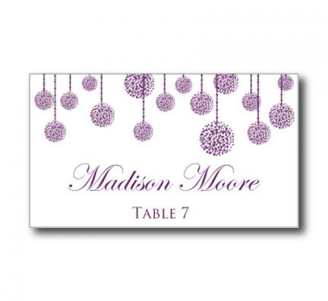 Printable wedding place card template purple wedding for Templates for place cards for weddings
