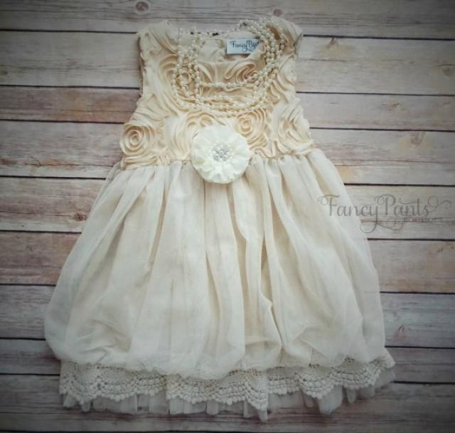 Flower girl dress beige toddler dress country flower for Country wedding flower girl dresses