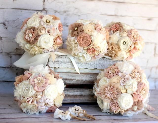 Wedding Bouquet Set Fabric Flowers Bridal Bouquet Bridesmaids Bouquets