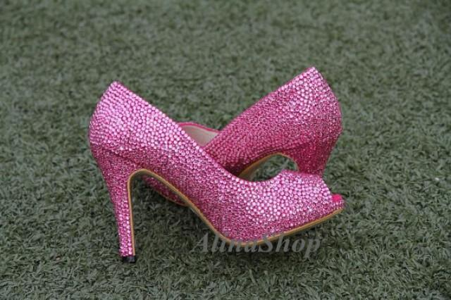 Pink Crystals Wedding Shoes Open Toe Heels Hot Pink Rhinestone