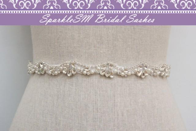 Pearl crystal rhinestone bridal sash beaded wedding dress for Pearl belt for wedding dress