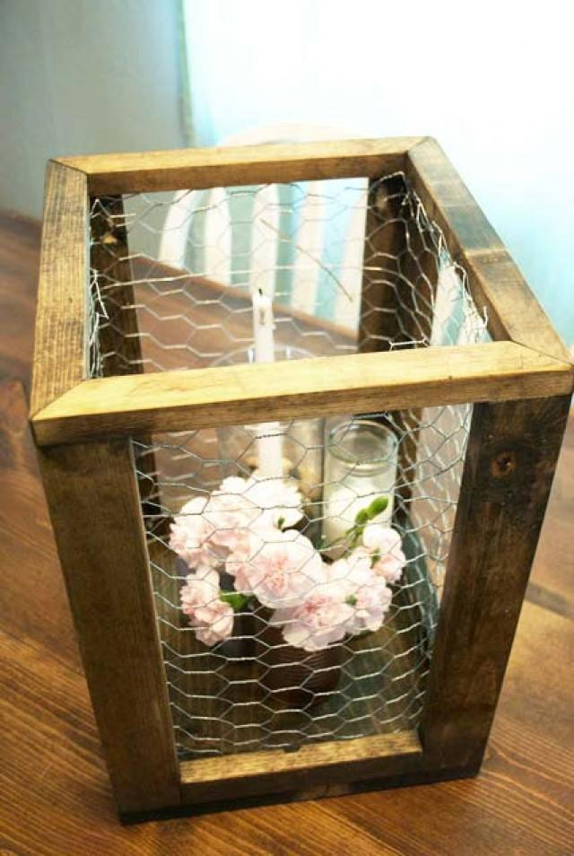 Chicken Wire Framed Box Rustic Home Decor Rustic Wedding