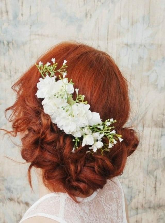 Flowers For Hair Wedding Ireland : Wedding hair accessory white flower comb bridal