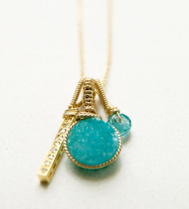Ocean Blue Druzy Charm Necklace, Summer Jewelry Ideas ...
