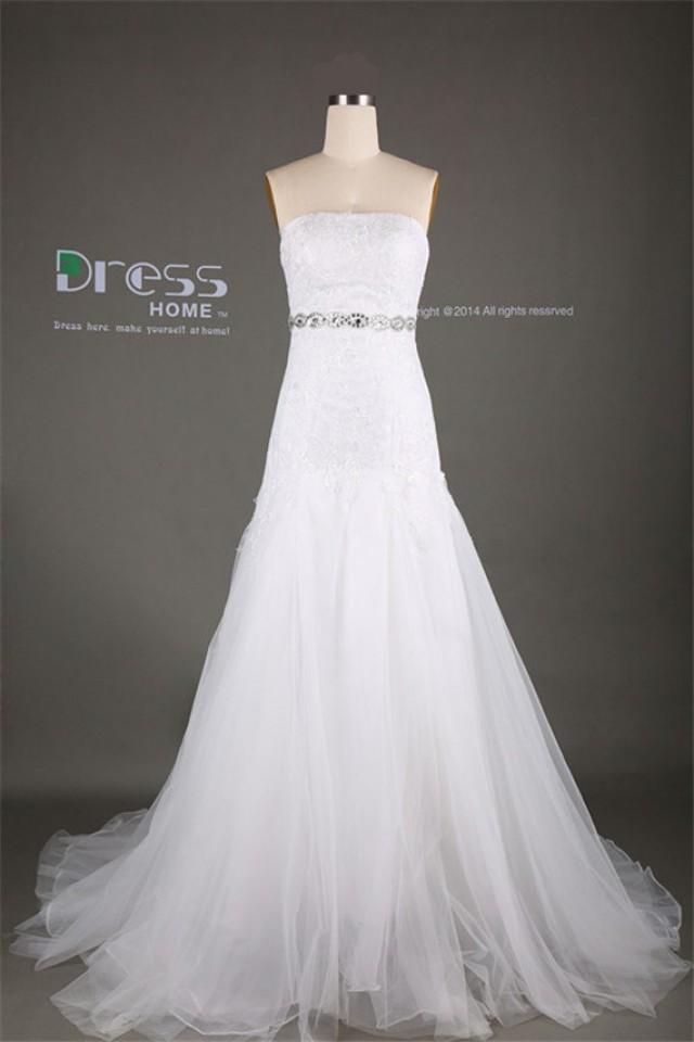Luxury white strapless beading belt lace tulle mermaid for Belt for lace wedding dress