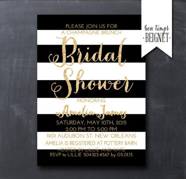 Black and white stripe bridal shower invitation 5x7 for Black and white bridal shower invitations