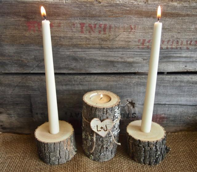 country brown wooden unity candle holder set tea and taper candle size natural rustic wedding. Black Bedroom Furniture Sets. Home Design Ideas