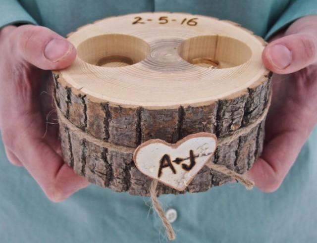 Personalized Wooden Ring Holder Ring Bearer White Ash