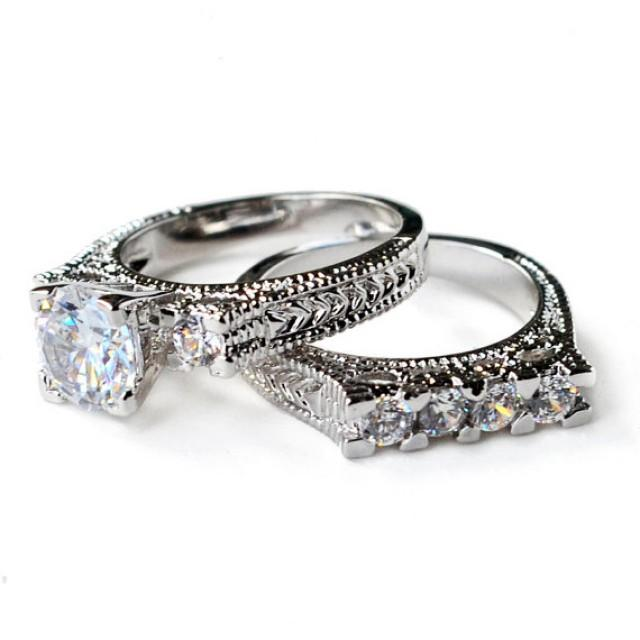 Cz Ring Cz Wedding Ring Cz Engagement Ring Wedding Ring Set Ring Set Vintage Style Art