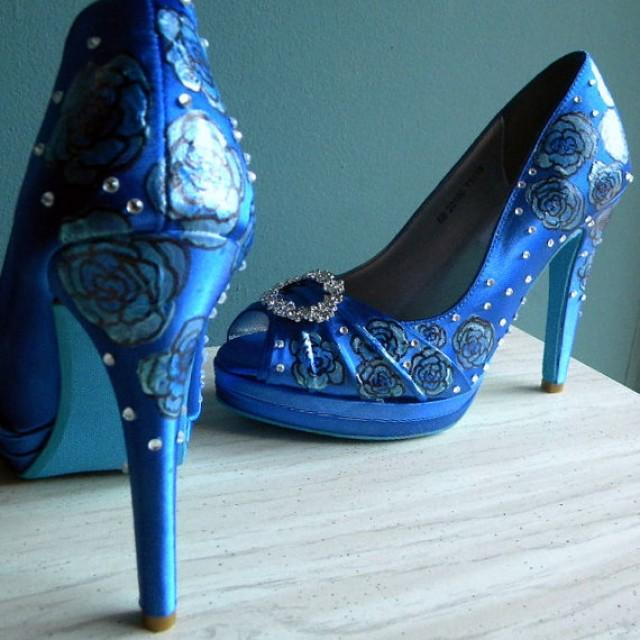 Wedding Shoes Sapphire Blue Shoes Blue Peep Toes Blue Roses Crystals Shoes Blue Soles