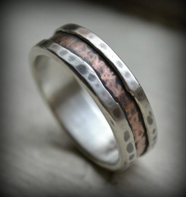 Rustic Fine Silver And Copper Ring