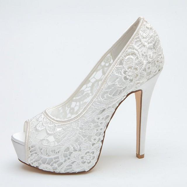 Bridal Shoes High Heels: Sexy See Through Lace Bridal Wedding Shoes Platform Peep