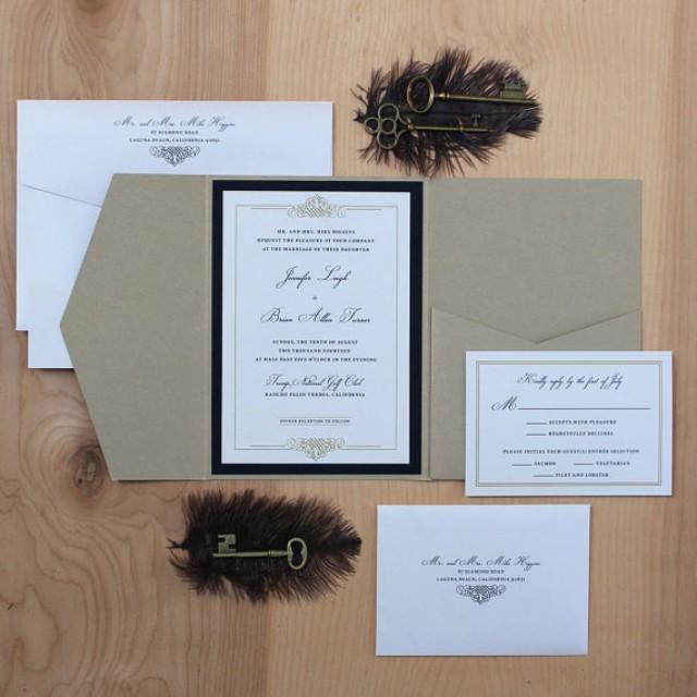 Elegant Wedding Invitation Black And Gold Invitation Pocket Fold Invitation